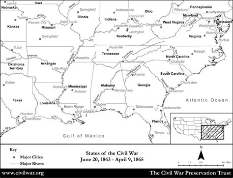 civil war states map blank civil war states map with state names and rivers
