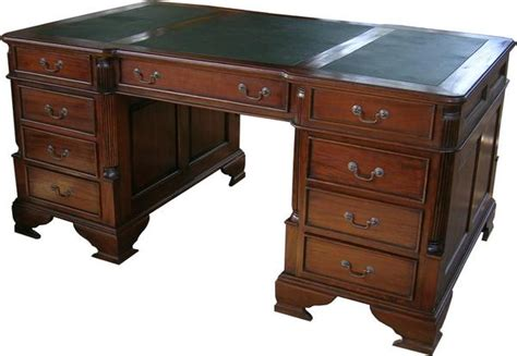 large mahogany partners desk with leather top