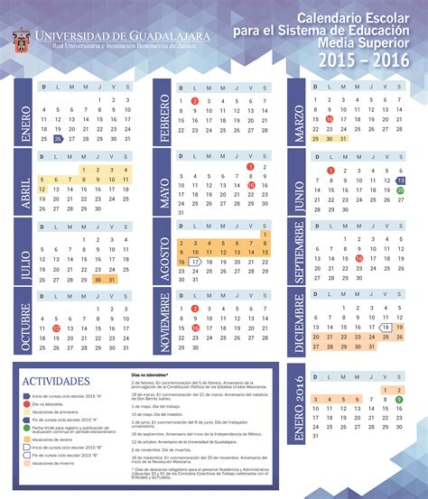 Calendario B Udg Calendario Escolar Sems Sistema De Educaci 243 N Media