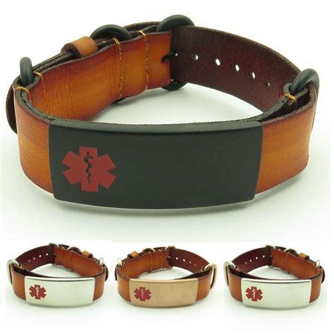 mens leather id bracelets idtagged adjustable leather s alert id