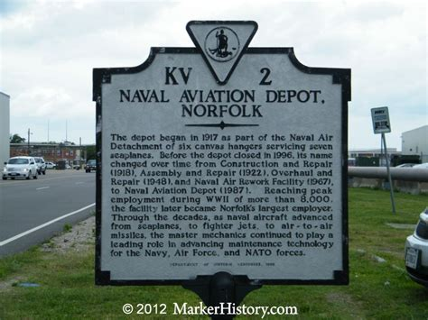 naval aviation depot norfolk kv 2 marker history