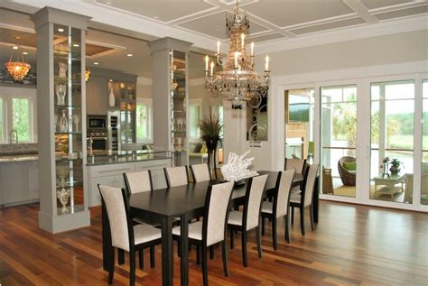 large kitchen dining room ideas dual glass display cases separate dining room from kitchen large ideas