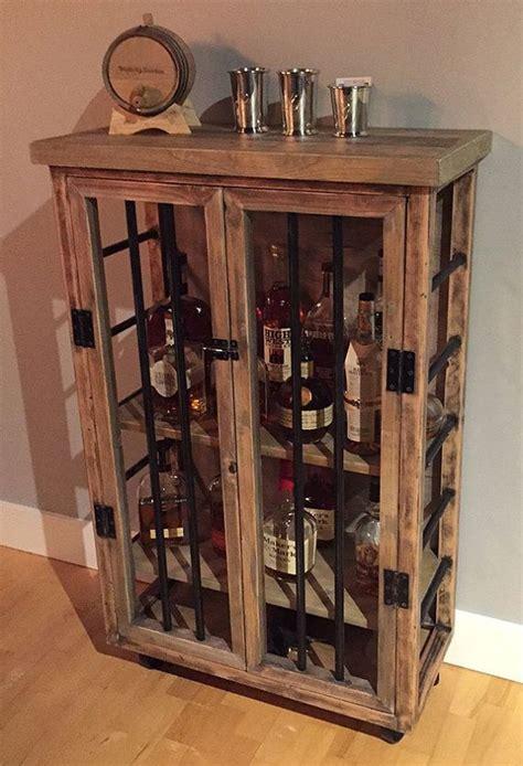 liquor cabinet rustic iron  wood  natural