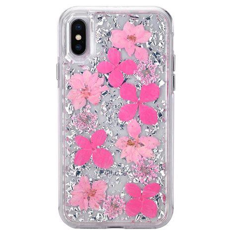 wholesale iphone xr 6 1in luxury glitter dried flower petal clear hybrid silver pink