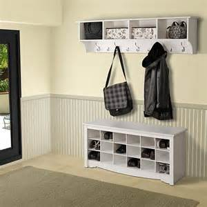 wall mount coat rack and shoe cubbie cabinet white wood