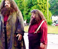 actor who plays goblin in harry potter robbie coltrane with his double martin bayfield