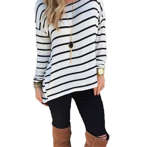 19051 Black White Stripped Sale Casual Two Pcs casual striped top o neck sleeve leisure blouse sv029131 on luulla