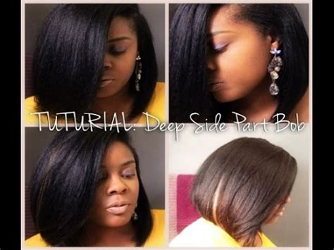 perm on leave out for sewin tutorial deep side part bob sew in outre velvet perm