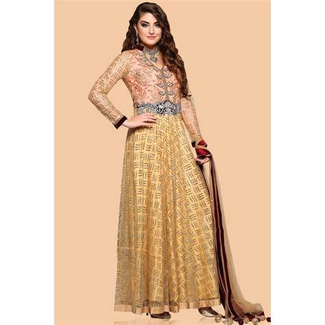 Salwar Kameez Beige new stylist anarkali churidar net suits for prom beige