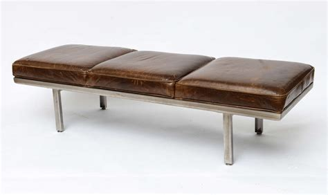 leather seating bench nelson steel bench with distressed leather seating at 1stdibs