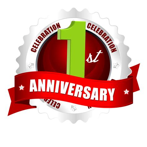 1st anniversary hd png logo downloads with red ribbon