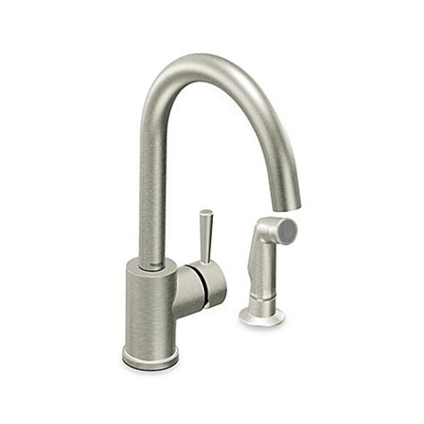 moen stainless steel kitchen faucet buy moen 174 level one handle kitchen faucet with side spray in stainless steel from bed bath beyond