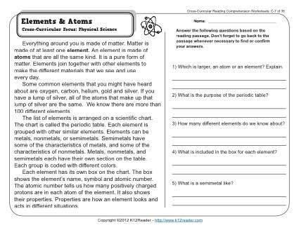 Atoms And Elements Worksheet by Solar System Comprehension Worksheets Grade 3 Pics About