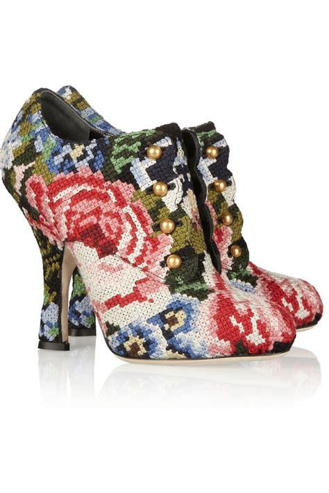 dolce and gabbana boots dolce gabbana women s leather embroidered the knee