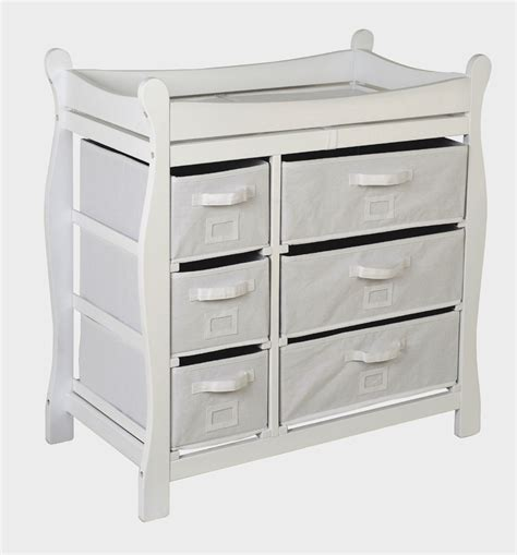 Badger Basket Baby Changing Table With Six Baskets Badger Basket White Sleigh Style Changing Table With Six Baskets 02410 New Ebay