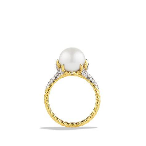 david yurman starburst pearl ring with diamonds in gold in