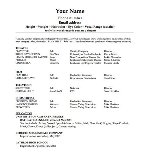 acting resume format template 20 useful sle acting resume templates to sle templates