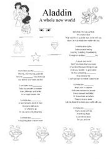 printable lyrics a whole new world english worksheets aladdin song a whole new world
