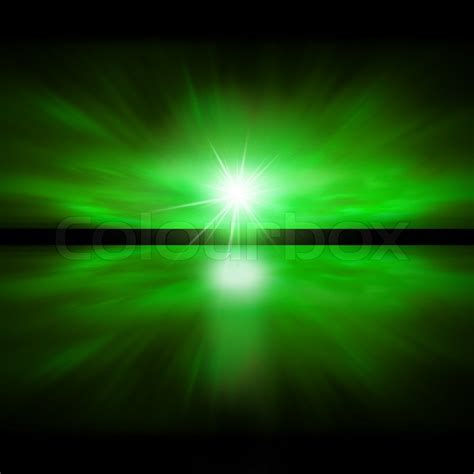 green light in the sky 2017 sky of green light fractal landscape stock photo