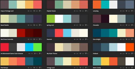 popular color palletes picking color schemes for craft projects or for web