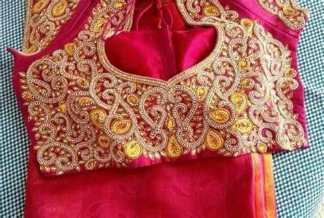 Wst 18356 Pink Yellow Floral Blouse maggam work fashionworldhub