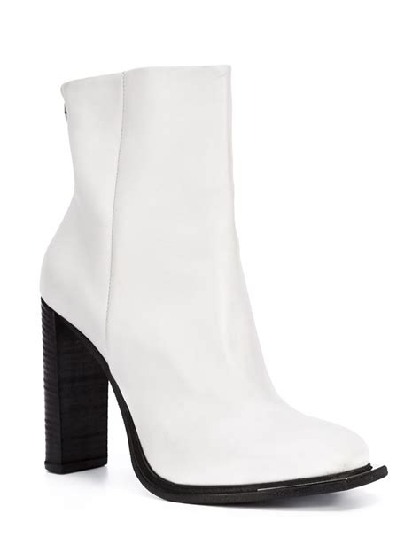 white high heel ankle boots vic mati 233 high heel leather ankle boots in white lyst