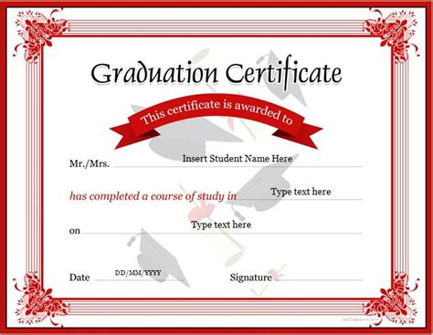 certificate of graduation template graduation certificate template for ms word at