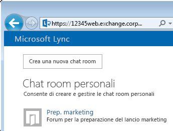 e chat room creare e gestire una chat room di lync lync