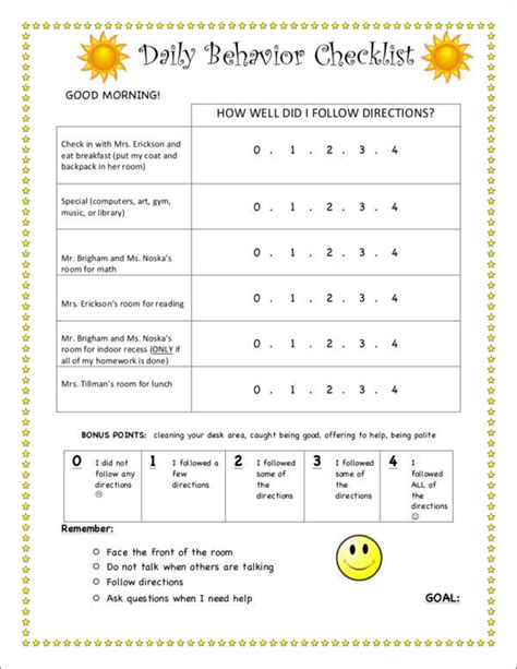 behaviour checklist template 15 behavior checklist sles templates free pdf