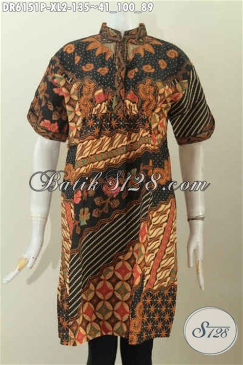 model baju batik dress wantia 2017 pakaian batik lengan