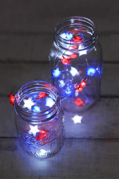 Everlasting Glow Red White Blue Star Shaped Led Mini Everlasting Glow Led Light Strings