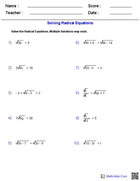 Simplifying Equations Worksheets by Algebra 1 Worksheets Radical Expressions Worksheets