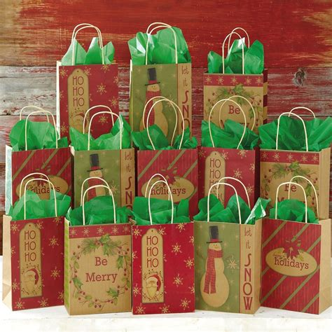christmas kraft gift bags colorful images