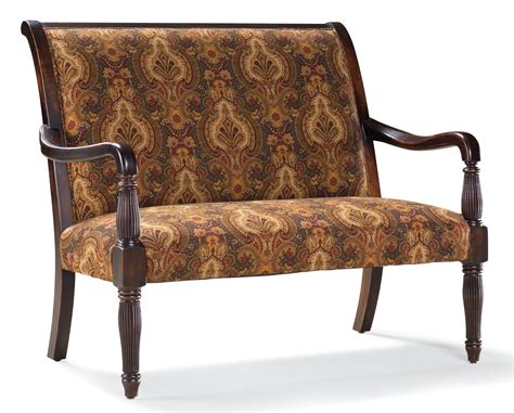 traditional settees fairfield sofa accents traditional stationary settee with