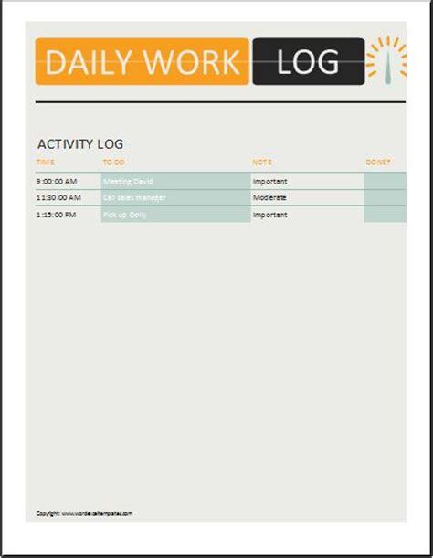 daily activity log templates microsoft word