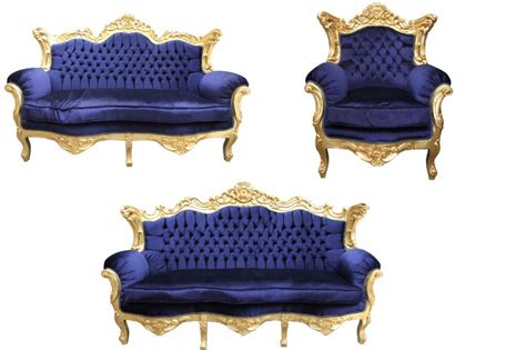 royal blue color sofa set casa padrino baroque living room set royal blue gold 3