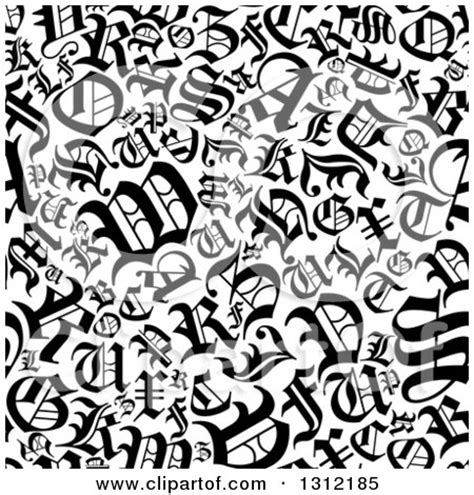 Clipart of a Seamless Background Pattern of Black and ... Free Black And White Clip Art Letters