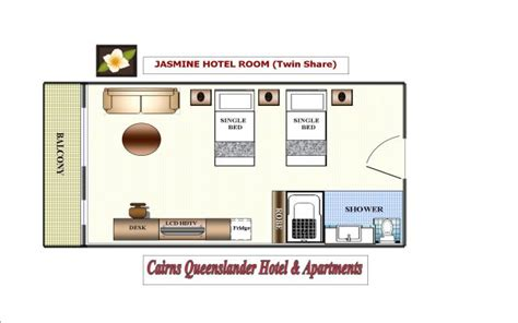 layout of twin room in hotel cairns hotel rooms and holiday apartment accommodation