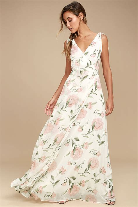 Maxi Flowery Dress gorgeous white maxi dress floral maxi dress plunging