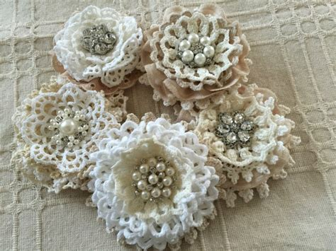 Handmade Lace Flowers - 5 shabby chic vintage lace handmade flowers 2234295