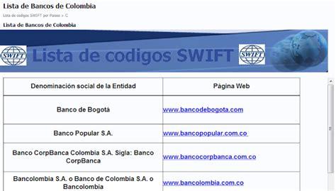 banco popular code lista de codigos para transferencias bancarias bic