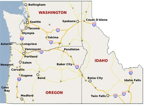 map of oregon washington oregon and idaho map oregon map