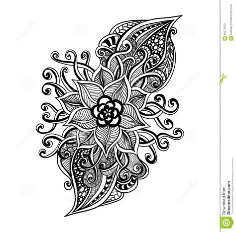 coloring pages with black background zen doodle decorative flower black on white royalty free