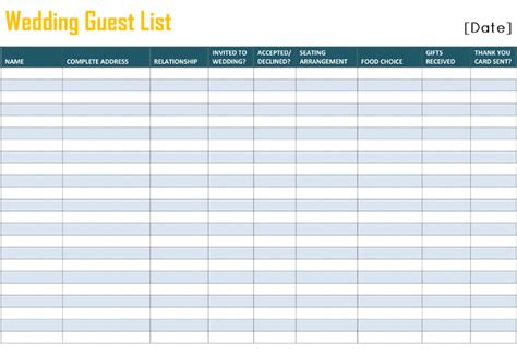 Wedding Planner Guest List by Printable Wedding Guest List Template For Word And Excel 174