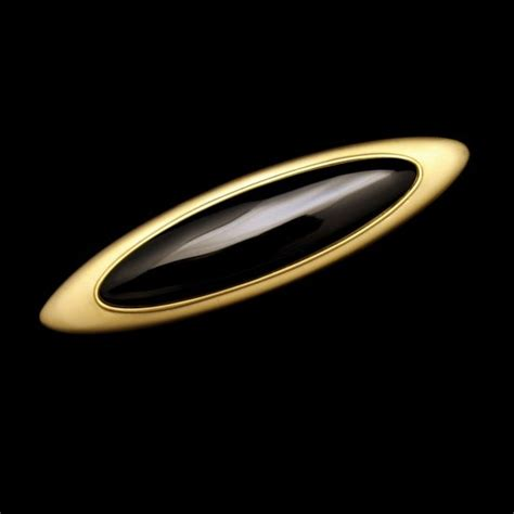 vintage brooch pin large matte goldtone oval faux onyx