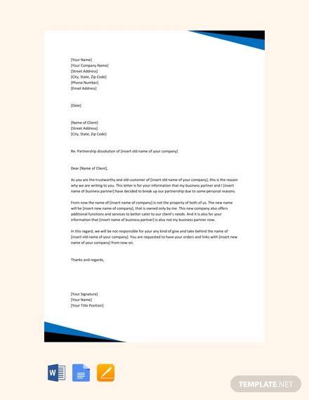 partnership dissolution letter template word