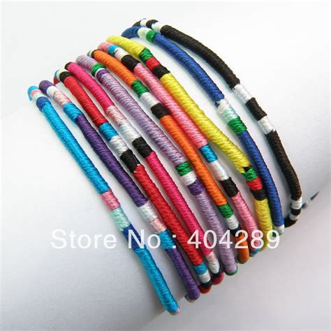 Handmade Yarn Bracelets - wholesale 120pcs mixed color macrame silk handmade
