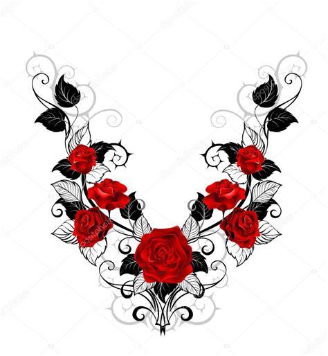 desenho de rosas vermelhas vetores de stock