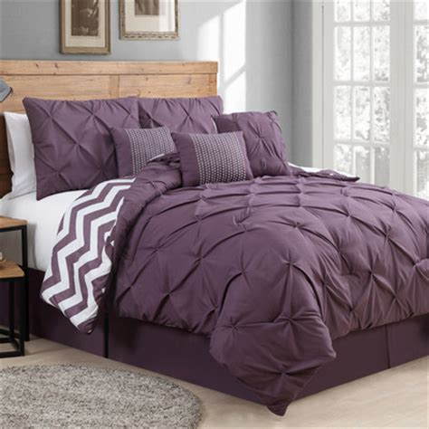 plum pinch tucked comforter set purple bedroom ideas