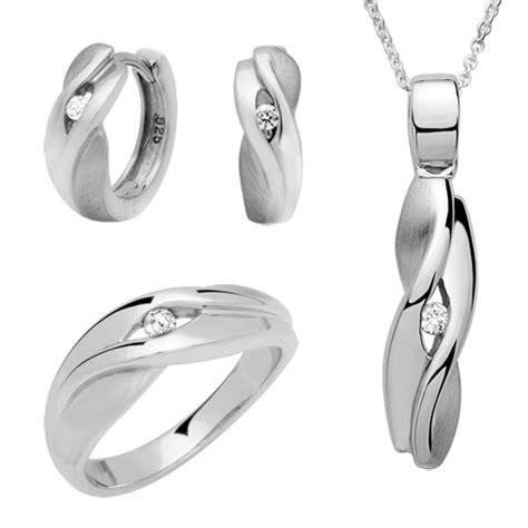 Schmuckset Silber by 925 Schmuckset Silber Ohrringe Ring Kette Ss0011
